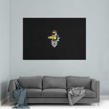 Rick And Morty Siyah Kanvas Tablo
