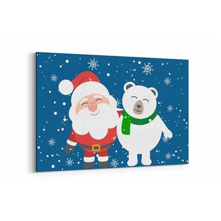 Noel Baba ve Ayı Arkadaşı Kanvas Tablo