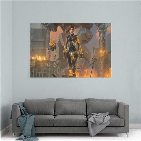 Warrior Fantasy Girl w Robot Kanvas Tablo