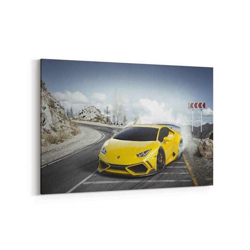 Sarı Lamborghini Huracan Kanvas Tablo