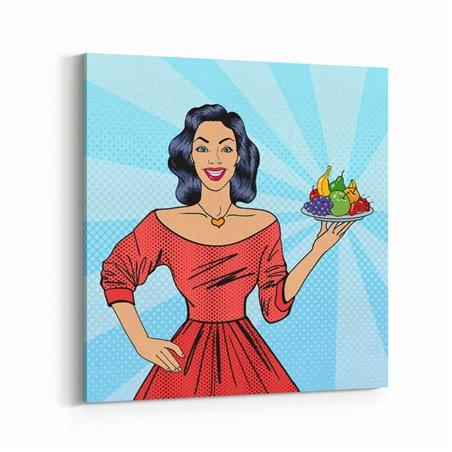 PopArt Kadın ve Meyveler Kanvas Tablo