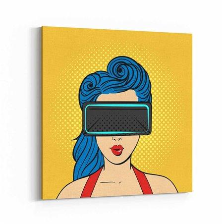 PopArt VR İzleten Kadın Kanvas Tablo