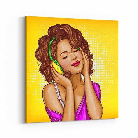 PopArt Müzik Dinleyen Kadın Kanvas Tablo