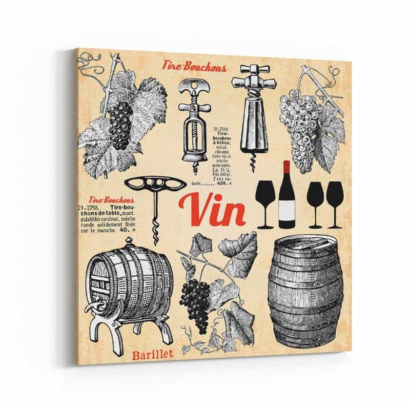 Şarap Retro ve Vintage Kanvas Tablo