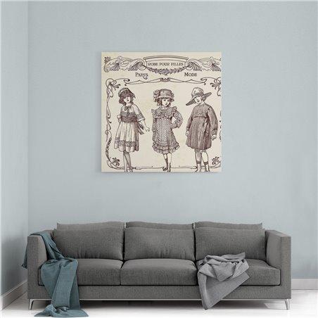 Paris Modası Retro ve Vintage Kanvas Tablo