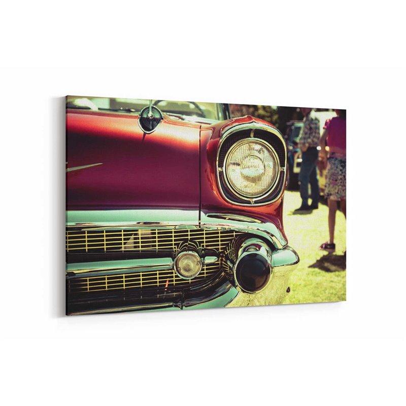 Retro Kırmızı Araç Kanvas Tablo