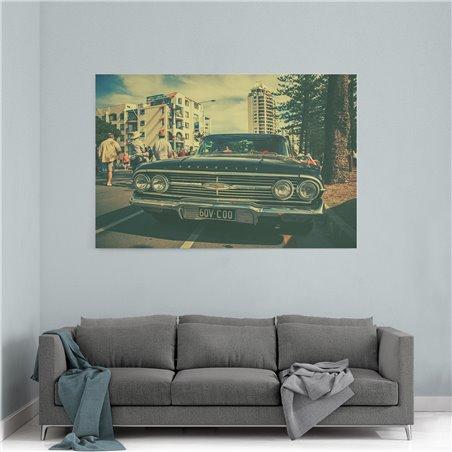 Retro Siyah Chevrolet Kanvas Tablo