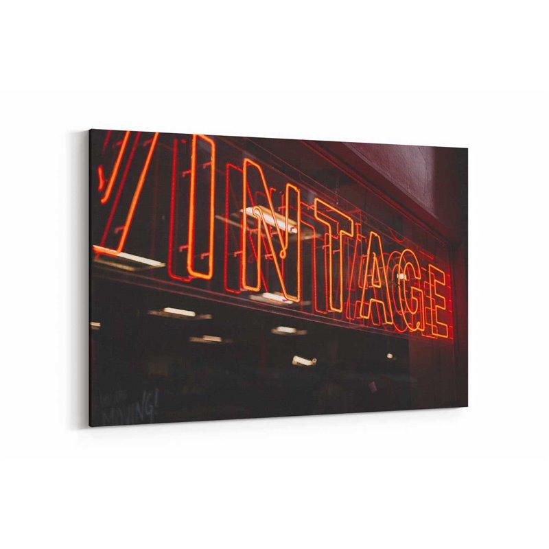 Vintage Neon Kanvas Tablo