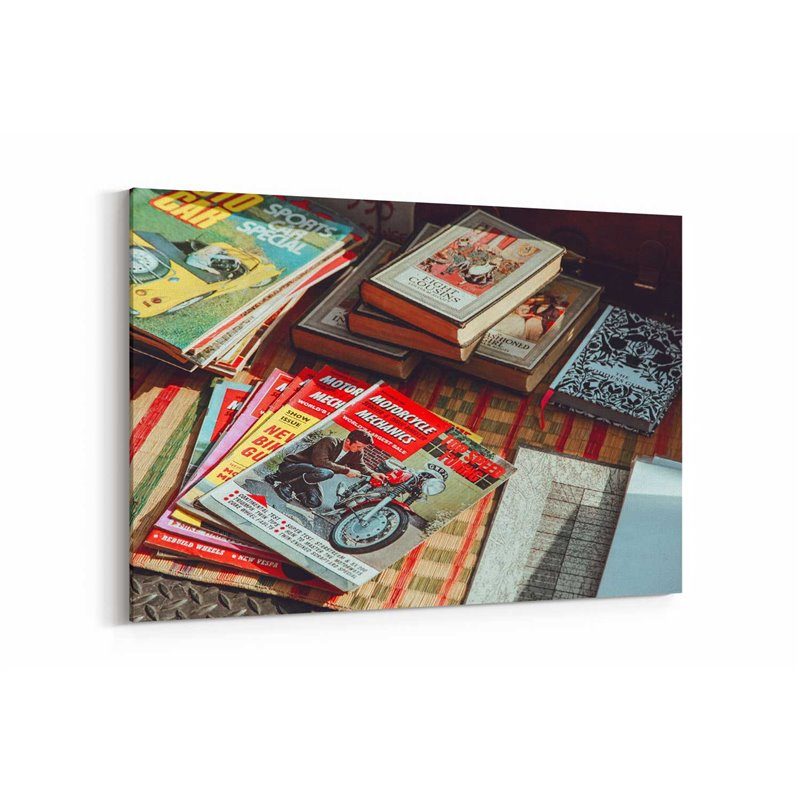 Vintage Eski Dergi Ve Kitaplar Kanvas Tablo