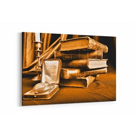 Eski Kitaplar ve Saat Kanvas Tablo