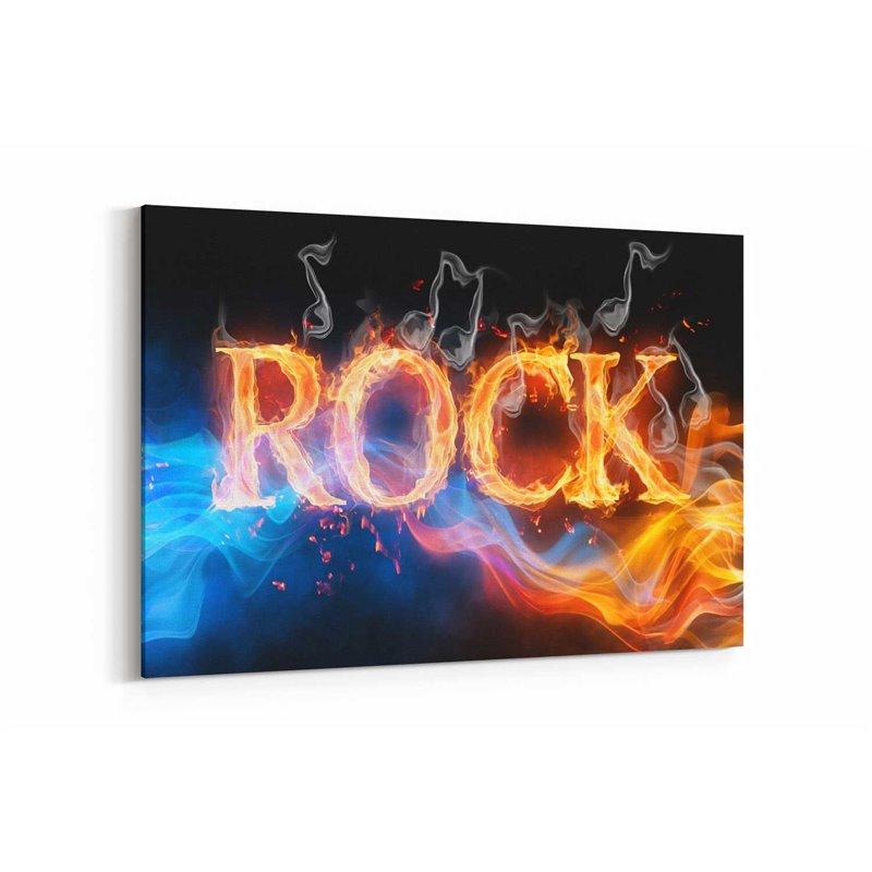 Alevli Rock Tipografi Kanvas Tablo