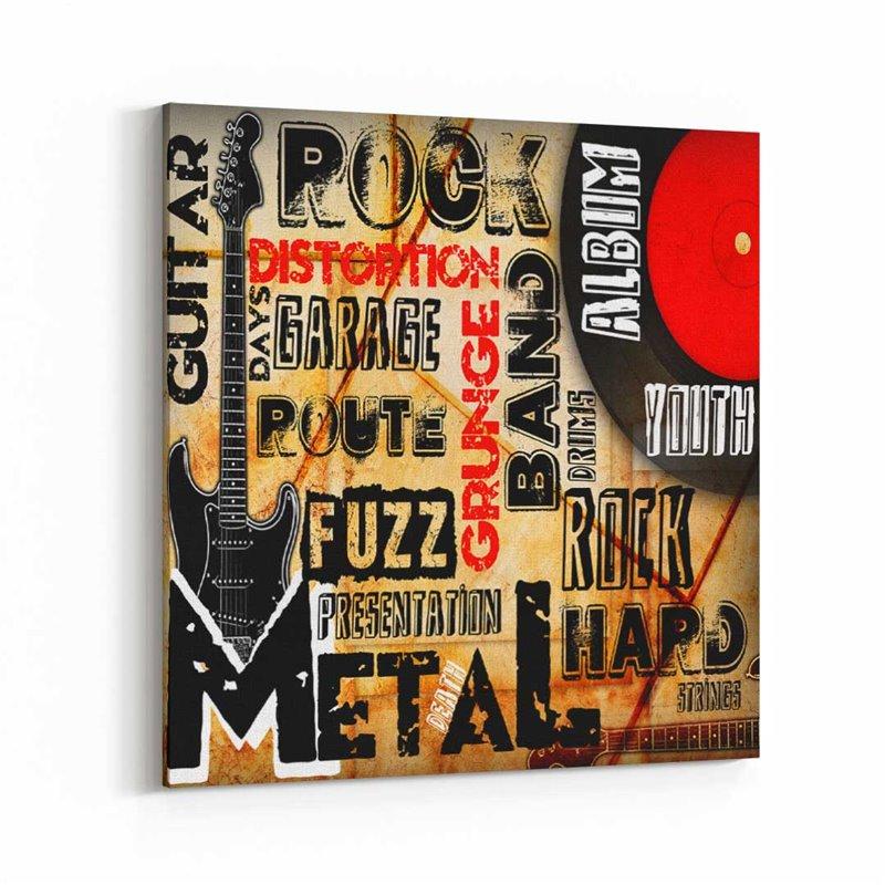 Rock ve Gitar Tipografik Kanvas Tablo