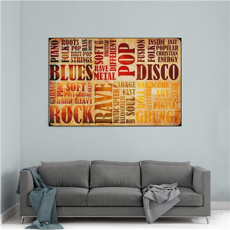 Pop Disco Blues Tipografi Kanvas Tablo