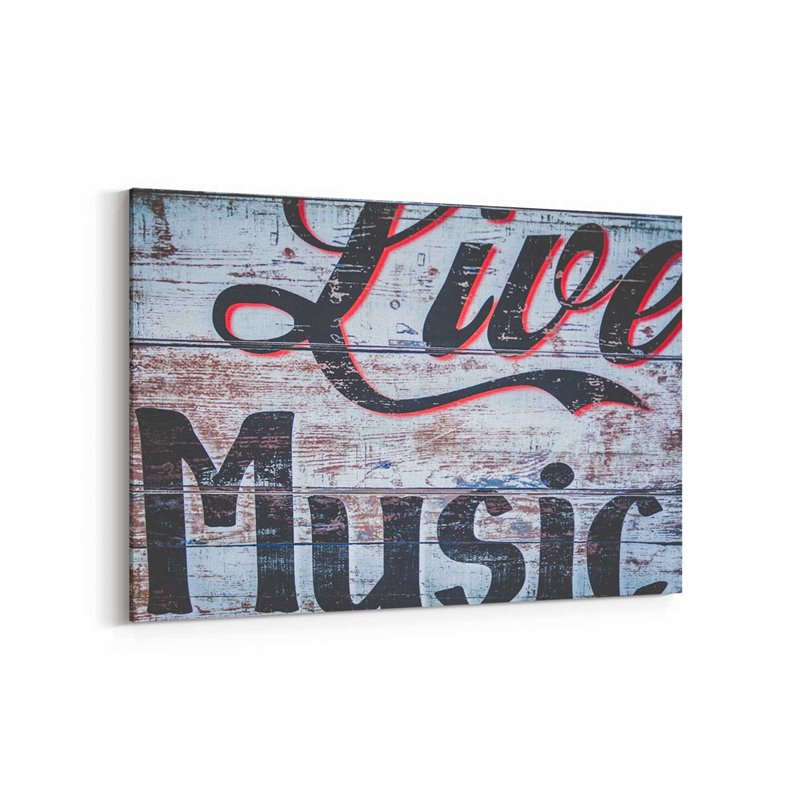 Live Music Tipografi Kanvas Tablo