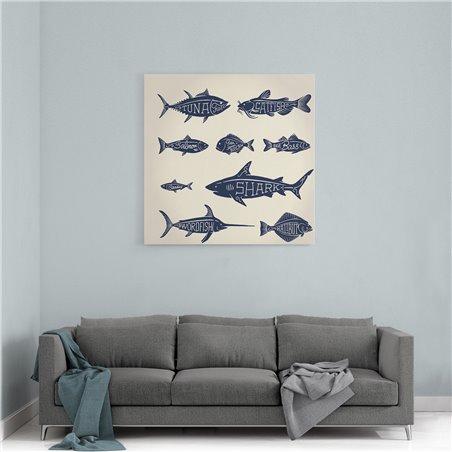 Balık Çeşitleri Tipografik Kanvas Tablo