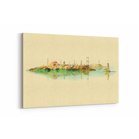 Sulu Boya Görünümlü İstanbul Kanvas Tablo