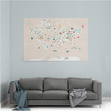 Hayvanlı Çocuk Odası Dünya Haritası Kanvas Tablosu