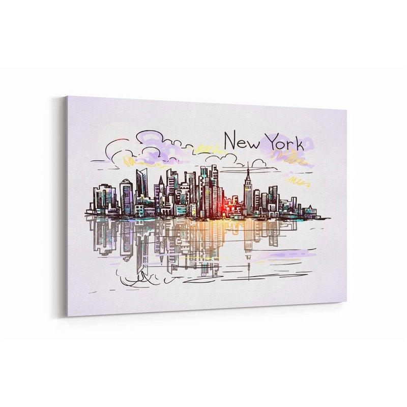 New York City - Amerika Çizim Kanvas Tablo