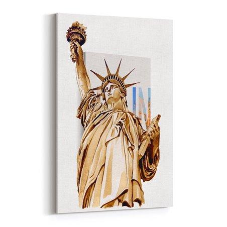 Özgürlük Heykeli Abd Çizim Kanvas Tablo