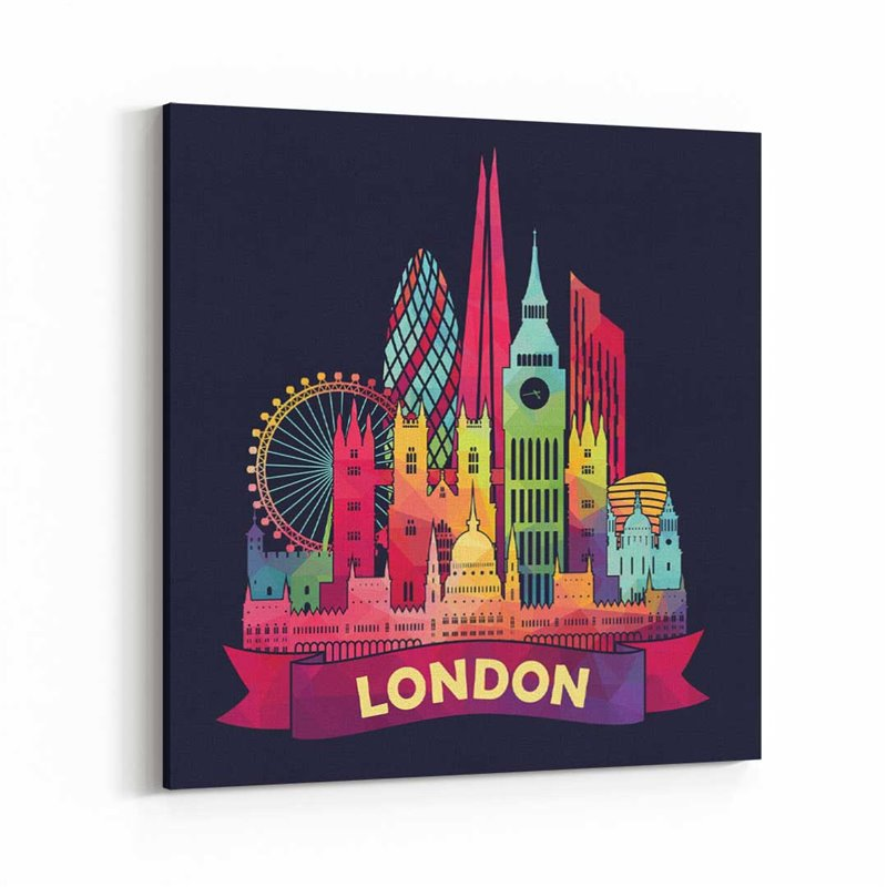 Londra İngiltere İllüstrasyon Siyah Kanvas Tablo