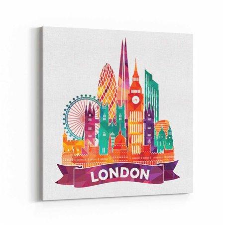 Londra İngiltere İllüstrasyon Kanvas Tablo