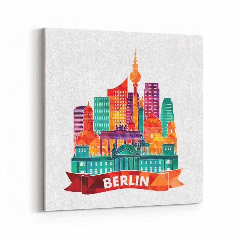 Berlin İllüstrasyon Almanya Kanvas Tablo