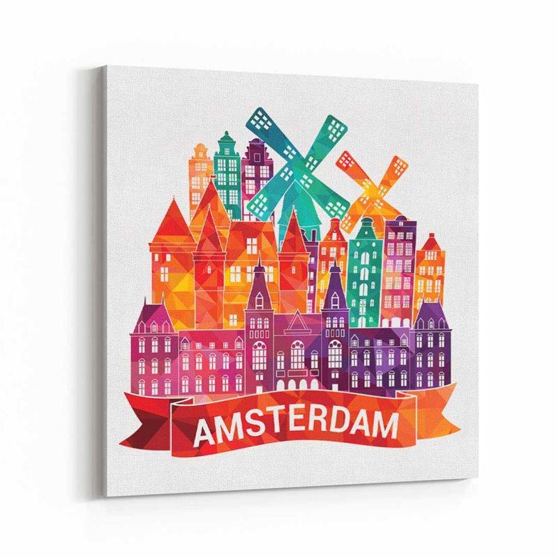 Amsterdam İllüstrasyon Kanvas Tablo