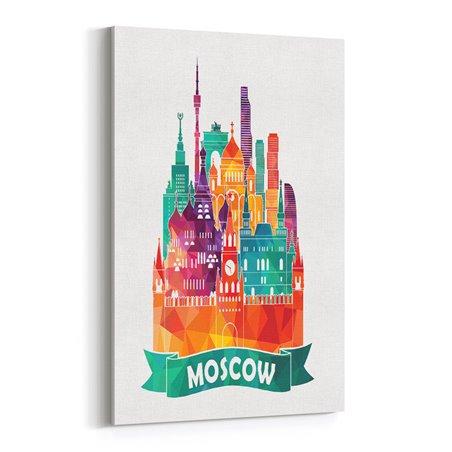 Moscowa İllüstrasyon Kanvas Tablo