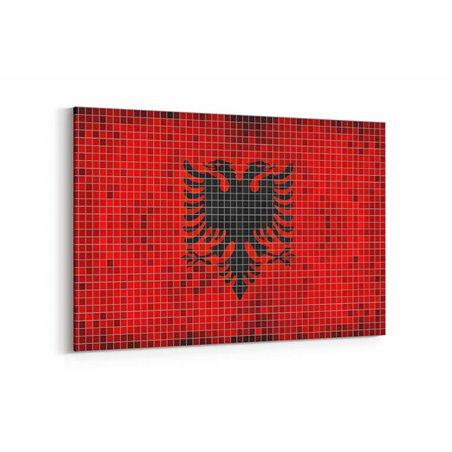 Arnavutluk Bayrak Kanvas Tablo