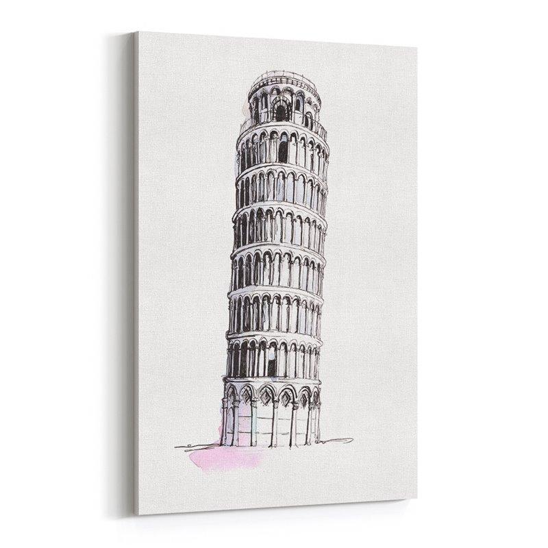 Pisa Kulesi Çizim İtalya Kanvas Tablo