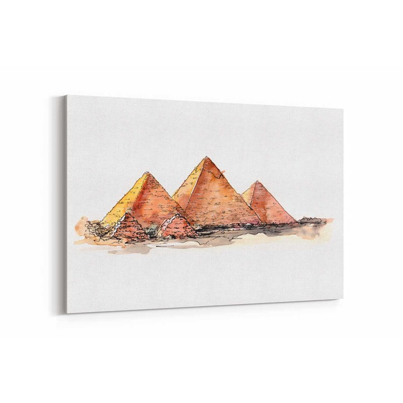 Mısır Piramitler Çizim Kanvas Tablo