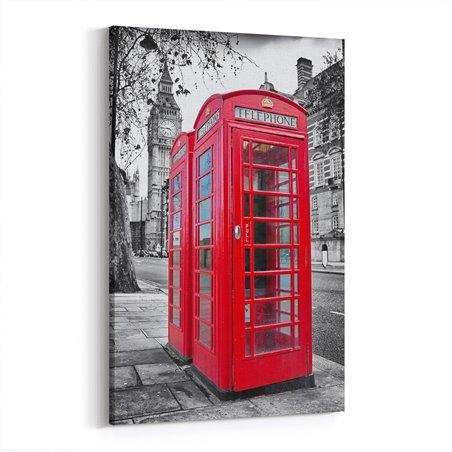 İngiltere Meşhur Kırmızı Telefon Kulübesi Kanvas Tablo