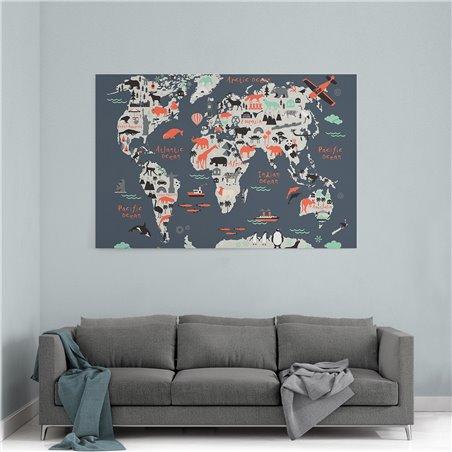 Sevimli Hayvanlı Dünya Haritası Kanvas Tablosu