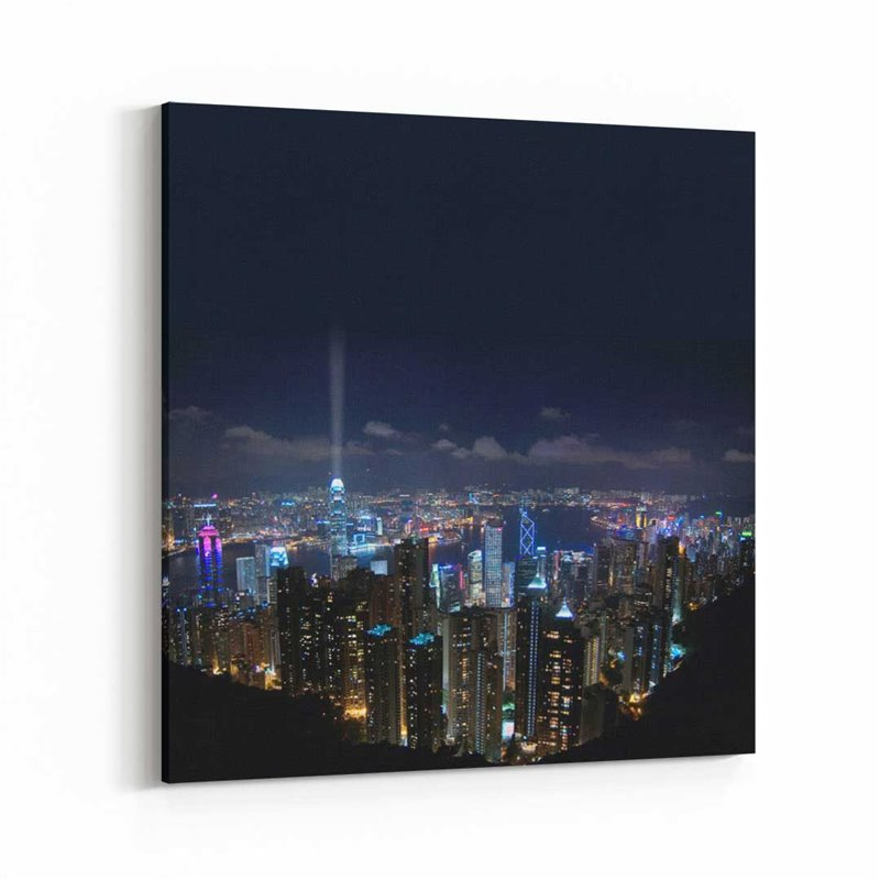 Hong Kong Gece Manzarası Kanvas Tablo