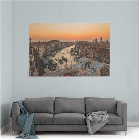 Venedik Kanalı ve Günbatımı Kanvas Tablo