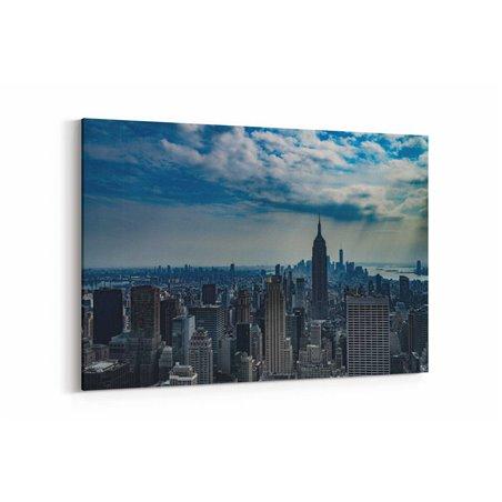 Empire State Binası Bulutların Altında Kanvas Tablo