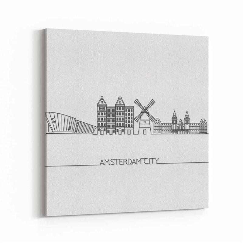 Amsterdam Çizim Kanvas Tablo