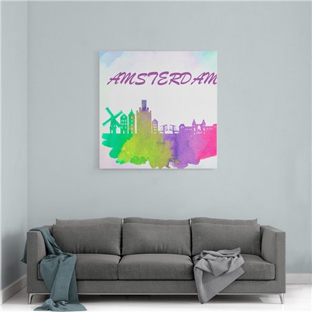 Amsterdam Sulu boya Çizim Kanvas Tablo