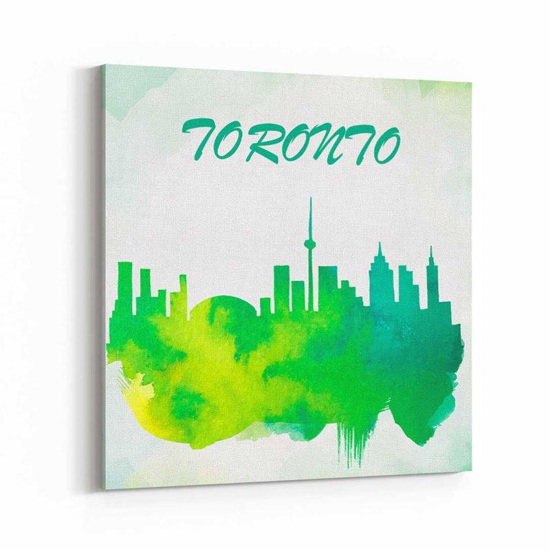 Toronto Sulu boya Çizim  Kanvas Tablo
