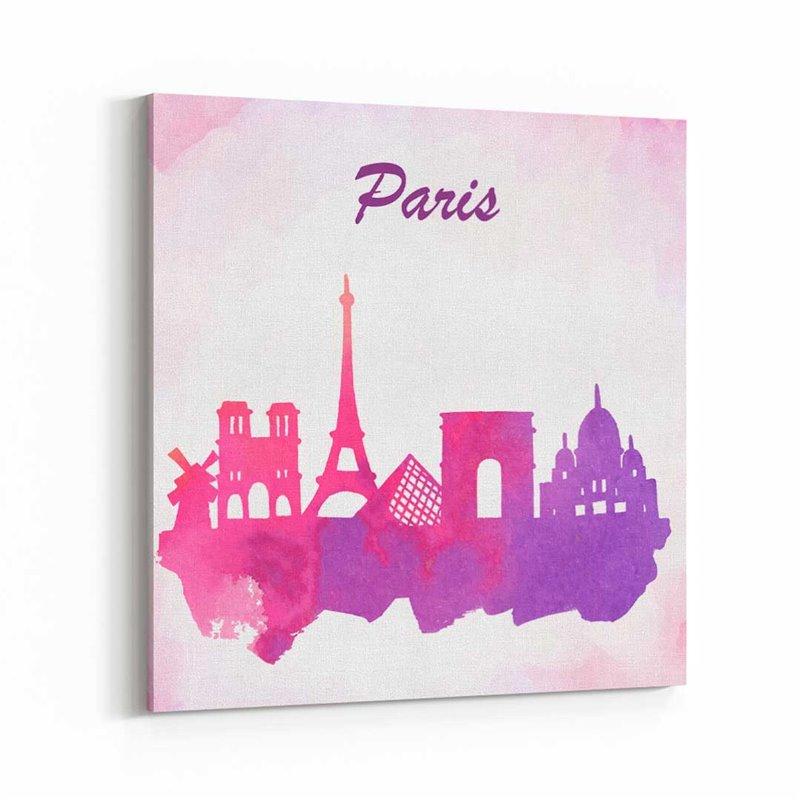 Paris Sulu boya Çizim  Kanvas Tablo