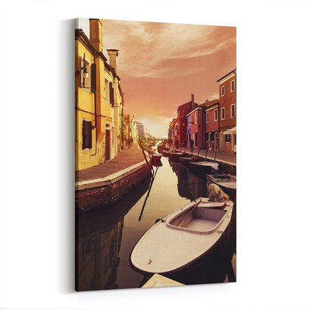 Kanalda Gün Batımı Venedik Kanvas Tablo