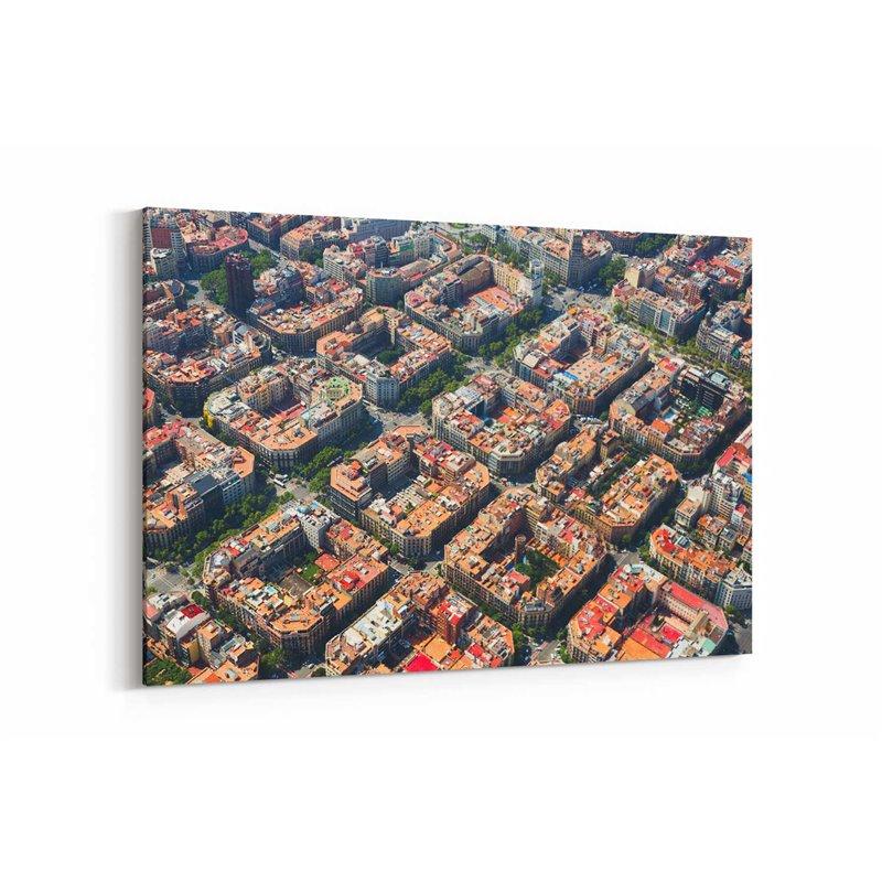 Barselona Şehir Planlaması Kanvas Tablo