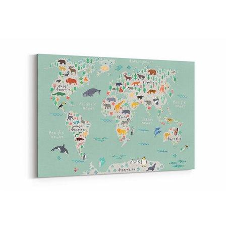 Penguenli Çocuk Odası Dünya Haritası Kanvas Tablosu