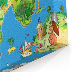 Çizgi Film Dünya Haritası Kanvas Tablosu