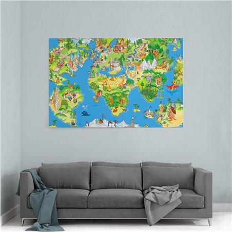 Çizgi Film Dünya Haritası 2 Kanvas Tablosu