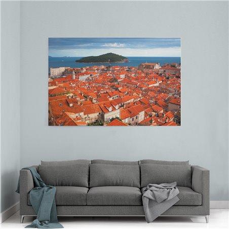 Dubrovnik Evleri ve Ada Kanvas Tablo