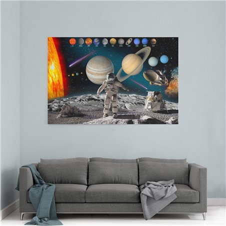 Astronot ve Uzay Kanvas Tablosu