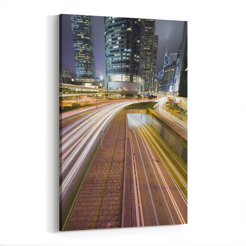 Işık Şehri Hong Kong Kanvas Tablo