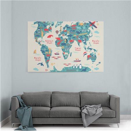 Penguenler ve Harita Kanvas Tablosu