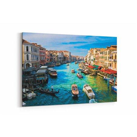 Venedik Deniz Trafiği Kanvas Tablo